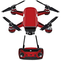 Skin for DJI Spark Mini Drone Combo - Red Carbon Fiber| MightySkins Protective, Durable, and Unique Vinyl Decal wrap cover | Easy To Apply, Remove, and Change Styles | Made in the USA