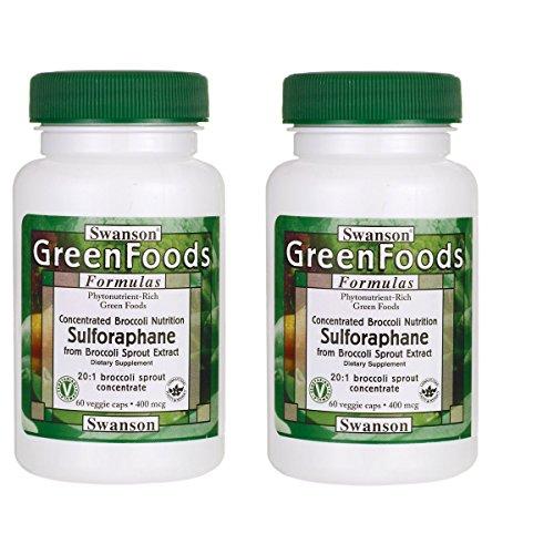 Swanson Sulforaphane from Broccoli 400 mcg 60 Veg Capsules 2 Pack