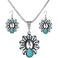 MENGDA Jewelry Peacock Turquoises Pendant Earrings Necklace Set for Womens Girls