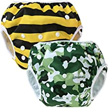 Teamoy Baby Swim Diaper(2 Pack) Newborn Cloth Diaper Cover(Camouflage+ Bees)