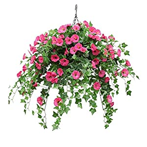 Mynse Silk Flower Rose Red Artificial Morning Glory Hanging Plant Ivy Green Leaves with Hanging Basket Wedding Garden Balcony Decoration (Small Basket) 51