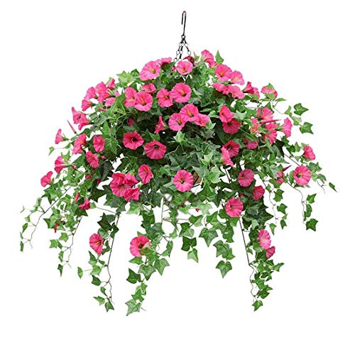 Mynse Silk Flower Rose Red Artificial Morning Glory Hanging Plant Ivy Green Leaves with Hanging Basket Wedding Garden Balcony Decoration Big Basket