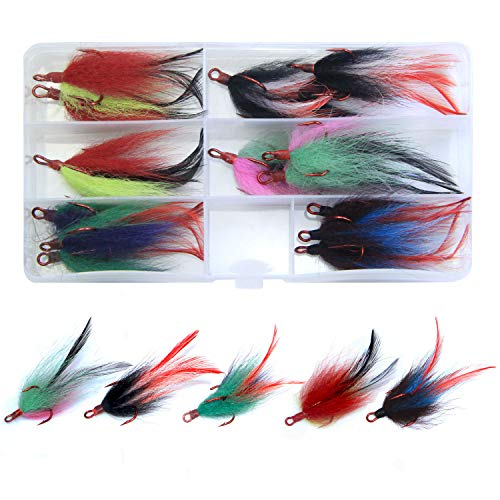 15pcs Dressed Fishing Treble Hook Saltwater Teaser Hooks with Feather Red Hooks -