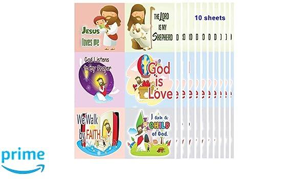 Pegatinas cristianas para niños (10 hojas), texto en inglés \