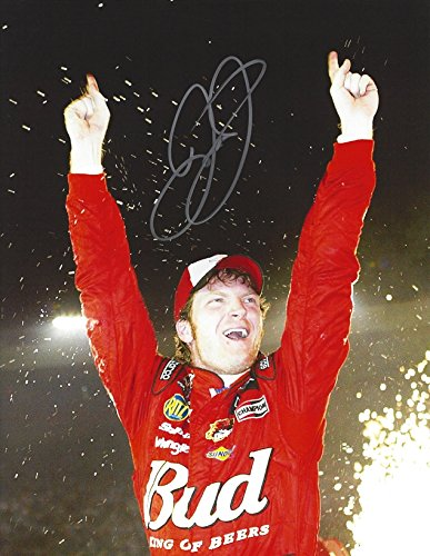 (AUTOGRAPHED Dale Earnhardt Jr. #8 Budweiser King of Beers Racing RACE WINNER (Victory Lane Celebration) DEI Vintage Signed Collectible Picture NASCAR 9X11 Inch Glossy Photo with COA)