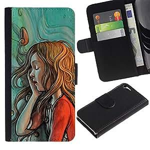 A-type (Painting Sketch Mint Red Green Redhead) Colorida Impresión Funda Cuero Monedero Caja Bolsa Cubierta Caja Piel Card Slots Para Apple Iphone 5 / 5S