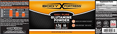Body Fortress 100% Pure Glutamine Powder, Supports Post Workout Recovery, 10.6 oz