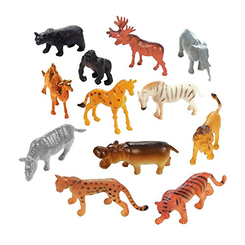 Fun Central AU079 72 Counts Plastic Toy Safari Animals,Safari Animal Figures,Plastic Toy Safari Animals,Safari Animal Toys, Educational - Assorted -