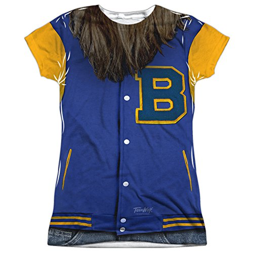 Teen Wolf Film Beavers Varsity Jacket Costume Juniors Front/Back Print T-Shirt (80s Basketball Costume)
