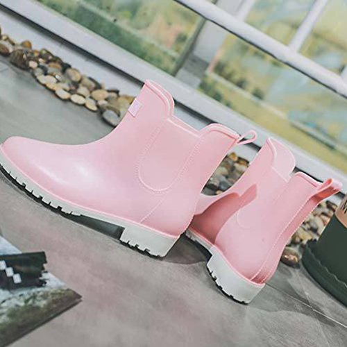 Botas Ligera Xinwcang Pink Muy Lluvia Shorty Botas Agua Antideslizante Mujer de Casual Impermeable Zapatos de Boot w8q0AIr8