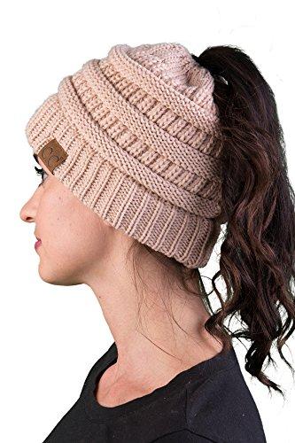 BT-6020a-6060 Messy Bun Womens Winter Knit Hat Beanie Tail - Warm Beige