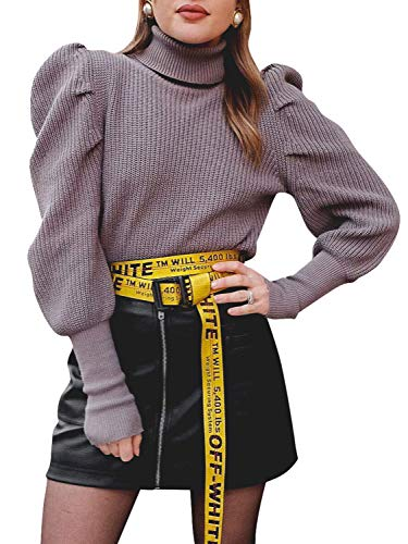 Sollinarry Women's Turtleneck Puff Long Sleeve Ribbed Knitted Sweater Pullover Tops Purple One Size