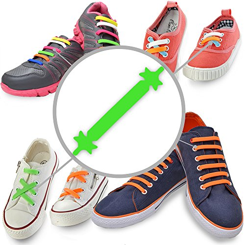 [#1 Premium No Tie Shoelaces (Fluorescent Green, Kid - 12pcs) Best Elastic Silicone Non Tie Shoe Lace Design For Easy Pull In and Lock It Super Easy To Clean] (Step Back In Time Costumes)