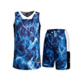 Rigorer Basketball Trainning Suits Crack Explosion Tank Top & Shorts Breathable Jersey Set Blue XL