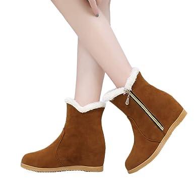 TianWlio Frauen Herbst Winter Stiefel Schuhe Stiefeletten Boots Stiefel  Freizeit Winter Wedge Wildleder Runde Zehe Reißverschluss Booties Halten  Sie Warme ... f4c820432e