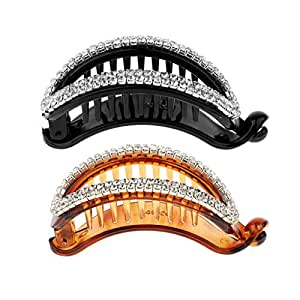 F Fityle Pack of 2 Bling Full Rhinestone Banana Hair Clips Grips Slides Claws Clamp Pins Headwear Crystal Barrette, Length 7.8cm, Black+Brown