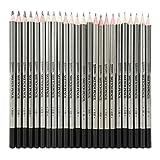 24Pcs Drawing Pencils Set, Sketch Art Graphite Drawing Pencil 9H 8H 7H 6H 5H 4H 3H 2H H HB F B 2B 3B 4B 5B 6B 7B 8B 9B 10B 11B 12B 14B