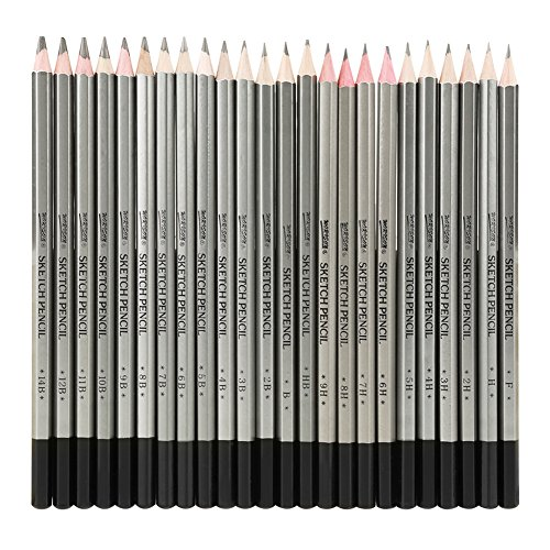 24pcs Art Graphite Drawing Pencil Non-Toxic Colored Paint Sketch Pencil 9H-14B 24 ()
