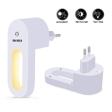 Luz Nocturna Infantil Enchufe, ESEYE 2pcs LED Lámpara de Noche Enchufe con Sensor de Luz