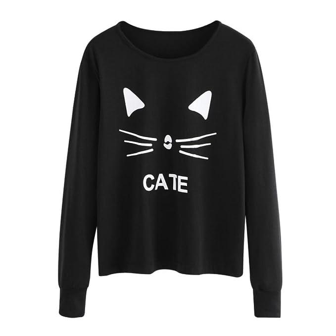 K-youth® Gato Imprimir Sudaderas Mujer Tumblr Largas Negra Moda Suéter Casual Blusa Tops otoño invierno Ropa: Amazon.es: Ropa y accesorios