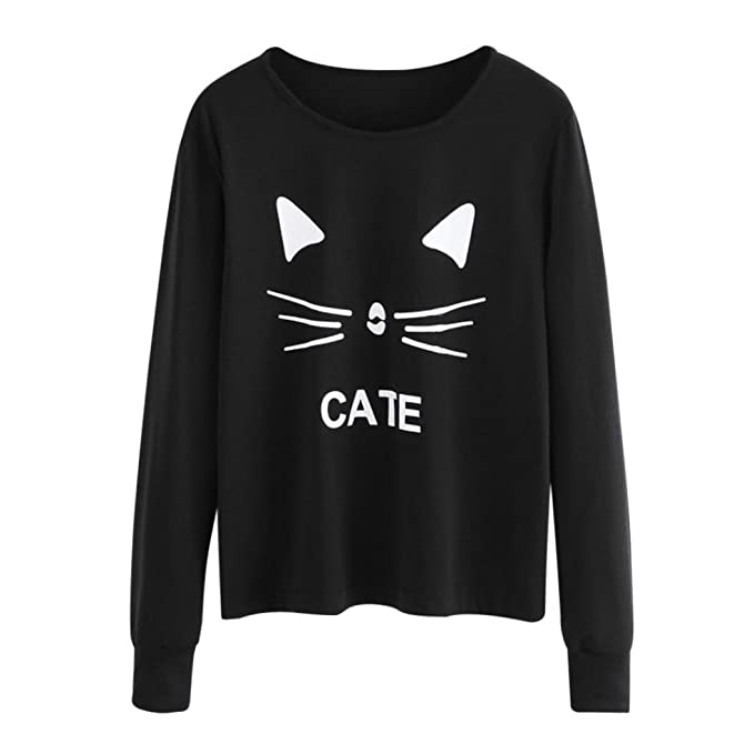K youth gato imprimir sudaderas mujer tumblr largas negra moda suéter  casual blusa tops jpg 679x679 776017c1c17d