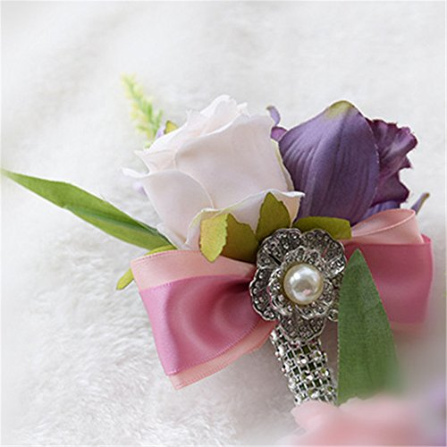 (Hot Wedding Charm Blooming Hand Flower Corsage Boutonniere (Ivory Wrist))