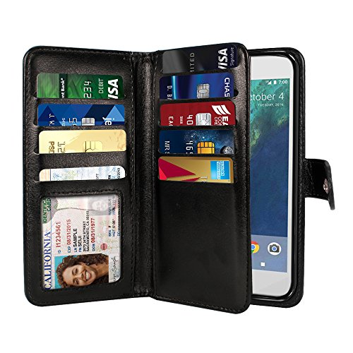 NEXTKIN Google Pixel XL 2016 Case, Leather Dual Wallet Folio TPU Cover, 2 Large Pockets Double flap Privacy, Multi Card Slots Snap Button Strap For Google Pixel XL 5.5 inch HTC 2016 - Black