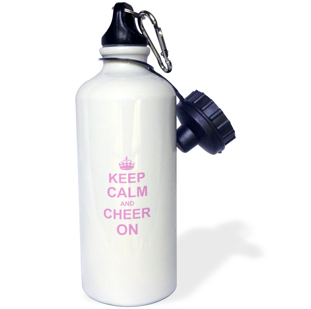 3dRose wb_157697_1 Keep Calm and Cheer on-Carry on Cheering-Gift for Cheerleaders-Pink Fun Funny Humor Humorous Sports Water Bottle, 21 oz, White