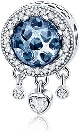 e3bff4523 Forever Queen Dream Catcher Charm Genuine 925 Sterling Silver Dangle Heart  Radiant CZ Crystal Bead fit