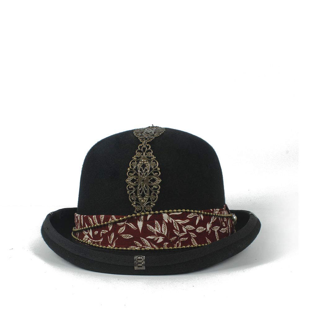 LL Women's Vintage Steampunk Red Plus Metal Decoration with Black Top Hat Universal Couple Brown Fedora Party Hat Headgear (Color : Black, Size : 57cm) by LL (Image #2)