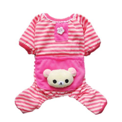 Petparty Cute Bear Comfy Dog Pajams Dog Shirt Stripes Dog Jumpsuit Pet Dog Clothes (Pink, XS)