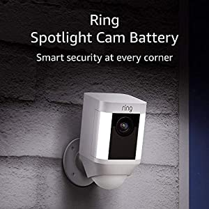 Ring Spotlight Cam Battery HD Security Camera with Built Two-Way Talk and a Siren Alarm, White, Works with Alexa 7