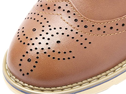 CAIHEE Mens Classic Casual Leather Oxford Shoes Lace Up Light Brown mKOSy