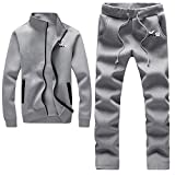 X-2 Athletic Full Zip Fleece Tracksuit Jogging Sweatsuit Activewear Gray XL