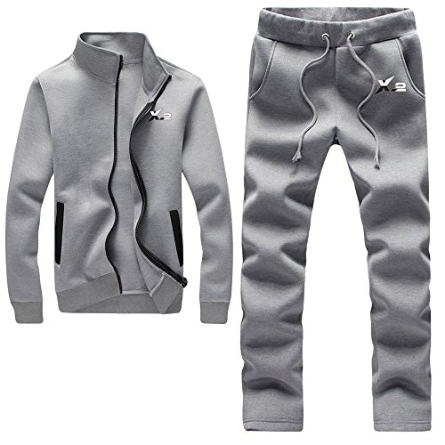 Athletic Suit Fleece (X-2 Athletic Full Zip Fleece Tracksuit Jogging Sweatsuit Activewear Gray S)