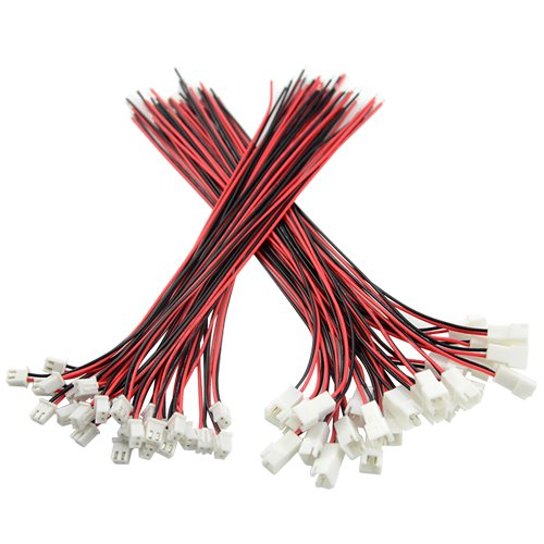 - XLX 50PCS 25Pair Mini Micro JST XH2.54 2PIN Female and Male Connection Plug with Red Black Terminal Connector Wire Cable 200mm