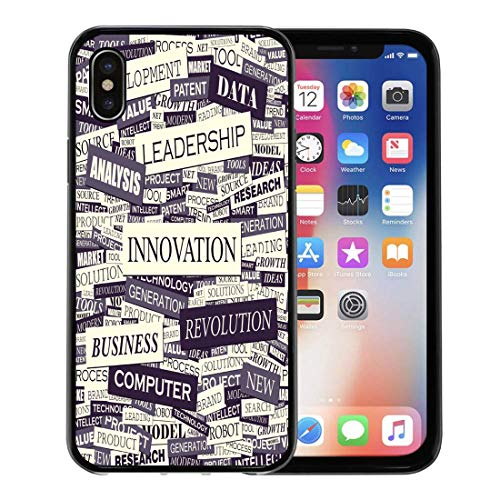 Emvency Phone Case for Apple iPhone Xs case,Newspaper Innovation Pattern Marketing Word Change Creative Technology for iPhone X Case,Rubber Border Protective Case,Black for $<!--$12.98-->