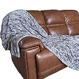 Oversized Softest Warm Elegant Cozy Faux Fur Home Throw Blanket 60'' x 80'' by Graced Soft Luxuries, Gray Tie Dye