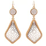 Rosemarie Collections Women's Druzy Stone and Moroccan Filigree Dangle Earrings