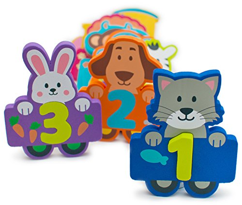 Character Bath (Foam Numbers Educational Bath Toys for Kids 27 Count for Pre-School - Fun Colorful Cartoon Animal Characters - Toys Float and Come With Bonus Mesh Bag for Storage & Quick Dry - Kids Learn Numbers)