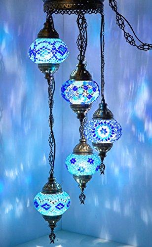 - (Customizable Globes) DEMMEX 2019 Hard-Wired or PLUGIN 1,3,5,7,9 Globes Chandelier Lights Turkish Moroccan Mosaic Ceiling Hanging Pendant Chandelier Light Lighting (5 Globes PlugIn)