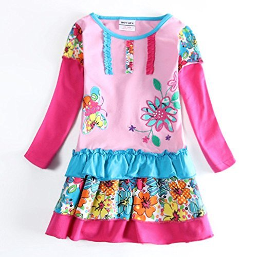 [Novatx Flower Princess Baby Girl Clothes H5602 Pink (5/6y)] (School Girl Dress Costumes)