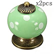 Choubao High Quality Vintage Style Ceramic Drawer Knobs Dresser Cabinet Cupboard Wardrobe Pull Handles Door Knobs - 2pcs, Green