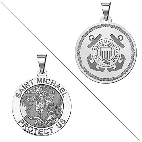 Saint Michael Doubledside COAST GUARD Religious Medal - 3/4 Inch Size of a Nickel - Sterling (Coast Guard Medal)