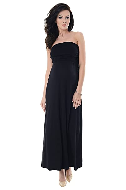 Purpless Maternity Maxi Largo Boobtube Bandeau Vestido de Embarazo 8120 (36, Black)