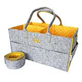 Baby Diaper Caddy Organizer by Fluffy Soul | Trendy Polka Dots Nursery Storage Bin | Travel and Car Changing Bag | Large Portable Wipes Tote with Shoulder Strap (Curry Cuddle)