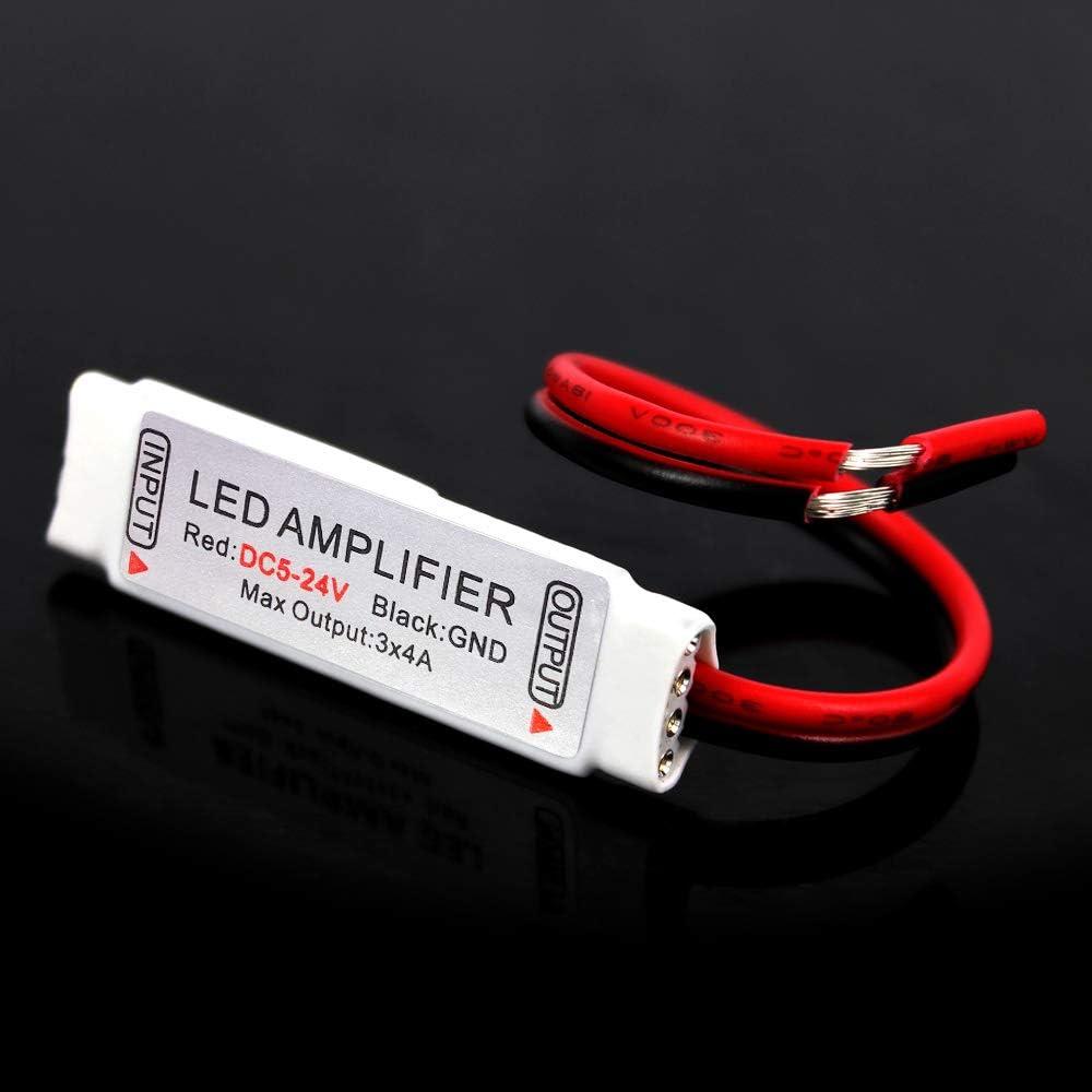 Súper Mini 5V / 12V / 24V 12A Amplificador Controlador para Tira de RGB LED