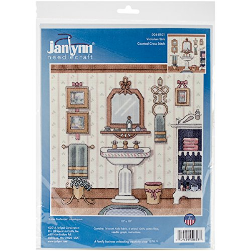 """Janlynn 06-0101 Victorian Sink 14 Count Counted Cross Stitch Kit, 10"""" by 10"""""""