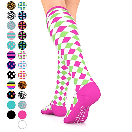 Go2Socks GO2 Compression Socks for Women Men Nurses Runners 15-20 mmHg (Medium) - Medical Stocking Maternity Travel - Best Performance Recovery Circulation Stamina (Harl White Pink Green, Medium)