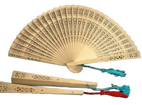 Sandalwood scented Wooden Fans - (three, 8